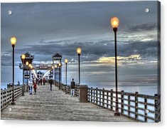 Oceanside Pier At Sunset Acrylic Print by Ann Patterson
