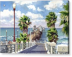 Oceanside Pier Acrylic Print by Mary Helmreich