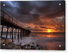 Oceanside Pier Perfect Sunset Ex-lrg Acrylic Print by Peter Tellone