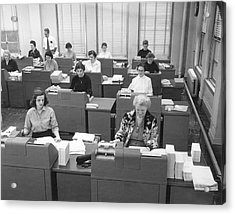 Office Workers Entering Data Acrylic Print by Underwood Archives