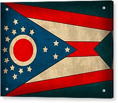 Ohio State Flag Art On Worn Canvas Acrylic Print by Design Turnpike