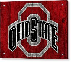 Ohio State University On Worn Wood Acrylic Print by Dan Sproul