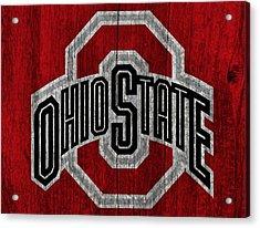 Ohio State University On Worn Wood Acrylic Print by Dan Sproul