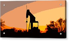 Oil Pump In Sunset Acrylic Print by James Granberry