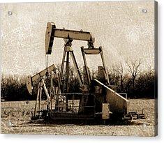 Oil Pump Jack In Sepia Acrylic Print by Ann Powell