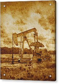 Oil Pump Jack In Sepia Two Acrylic Print by Ann Powell