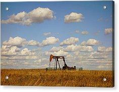 Oil Pump Jack On The Prairie Acrylic Print by Ann Powell