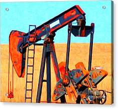 Oil Pump - Painterly Acrylic Print by Wingsdomain Art and Photography