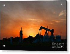 Oilfield Sunset Acrylic Print by Debra McKinnon