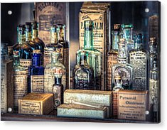 Ointments Tonics And Potions - A 19th Century Apothecary Acrylic Print by Gary Heller