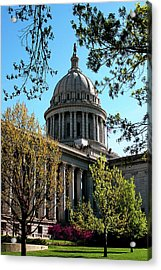 Oklahoma City Capitol In The Spring Acrylic Print by Toni Hopper