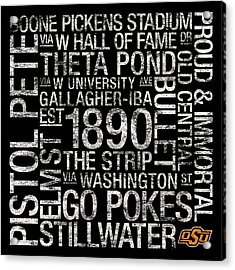 Oklahoma State College Colors Subway Art Acrylic Print by Replay Photos