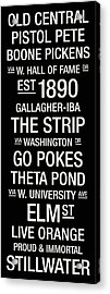 Oklahoma State College Town Wall Art Acrylic Print by Replay Photos