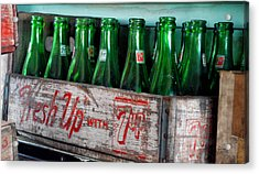 Old 7 Up Bottles Acrylic Print by Thomas Woolworth