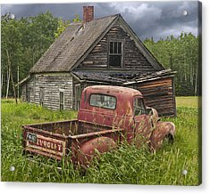 Old Abandoned Homestead And Truck Acrylic Print by Randall Nyhof
