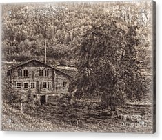 Old And Abandoned - Sepia Acrylic Print by Hanny Heim