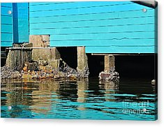 Old Aqua Boat Shed With Aqua Reflections Acrylic Print by Kaye Menner