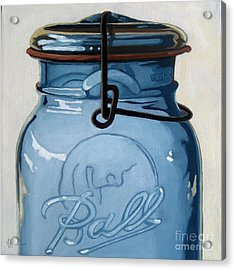 Old Ball Jar -oil Painting Acrylic Print by Linda Apple