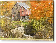 Old Barn And Dam In Autunm Vienna Maine Acrylic Print by Keith Webber Jr