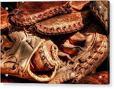 Old Baseball Gloves Acrylic Print by Bill Wakeley