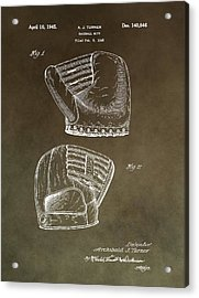 Old Baseball Mitt Patent Acrylic Print by Dan Sproul