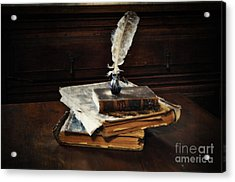 Old Books And A Quill Acrylic Print by Mary Machare