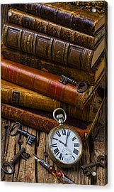 Old Books And Pocketwatch Acrylic Print by Garry Gay