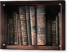 Old Books On The Shelf - 19th Century Library Acrylic Print by Gary Heller