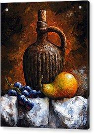 Old Bottle And Fruit II Acrylic Print by Emerico Imre Toth