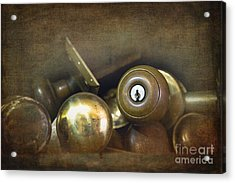 Old Brass Door Knobs Acrylic Print by Jane Rix