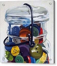 Old Button Jar Acrylic Print by Linda Apple