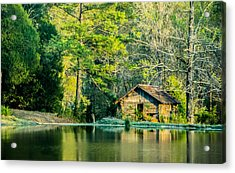 Old Cabin By The Pond Acrylic Print by Parker Cunningham