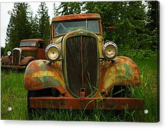 Old Cars Left To Decorate The Weeds Acrylic Print by Jeff Swan