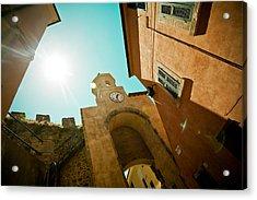 Old Clock On The Tower And Sun Acrylic Print by Raimond Klavins