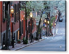 New England Acrylic Print featuring the photograph Old Colonial Brick Row Houses Of Beacon Hill by Juergen Roth