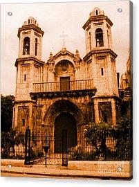 Old Colonial Church In Varadero Cuba Acrylic Print by John Malone