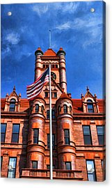 Old Dupage County Courthouse Flag Acrylic Print by Christopher Arndt