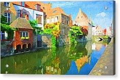 Old Europe Town Acrylic Print by Yury Malkov
