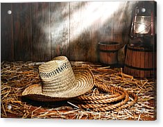 Old Farmer Hat And Rope Acrylic Print by Olivier Le Queinec