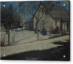 Old Farmhouse In Winter Acrylic Print by Benaca