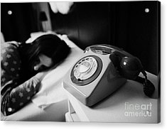 Old Fashioned Gpo Bt Phone On Bedside Table Of Early Twenties Woman In Bed In A Bedroom Acrylic Print by Joe Fox