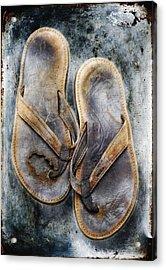 Old Flip Flops Acrylic Print by Skip Nall