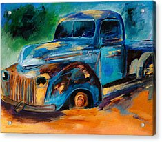 Old Ford In The Back Of The Field Acrylic Print by Elise Palmigiani