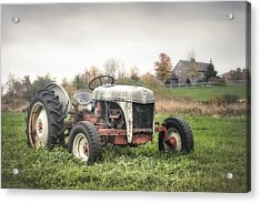 Old Ford Tractor And Farm House Acrylic Print by Gary Heller
