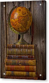 Old Globe On Old Books Acrylic Print by Garry Gay