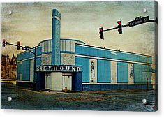 Old Greyhound Bus Station Acrylic Print by Sandy Keeton