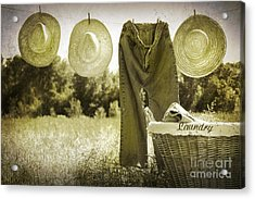 Old Grunge Photo Of Jeans And Straw Hats  Acrylic Print by Sandra Cunningham