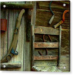 Old Hanging Ladderback Acrylic Print by Julie Dant