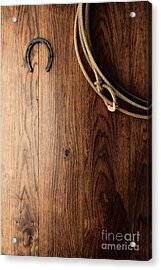 Old Horseshoe And Lariat Acrylic Print by Olivier Le Queinec