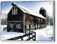 Old Jersey Farm In Winter Acrylic Print by George Oze